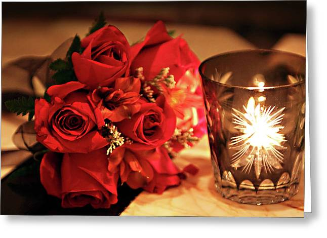 Candle Lit Greeting Cards - Romantic Red Roses in Candle Light Greeting Card by Linda Phelps