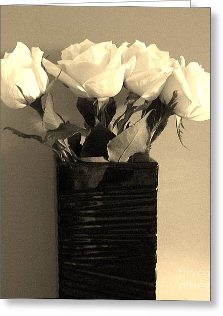 Romantic Roses In Sepia Greeting Card by Marsha Heiken