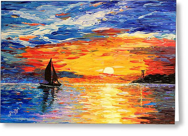 Lighthouse At Sunset Greeting Cards - Romantic Sea Sunset Greeting Card by Georgeta  Blanaru