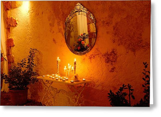 Candle Lit Greeting Cards - Romantic Setting Greeting Card by Stephen Routsis