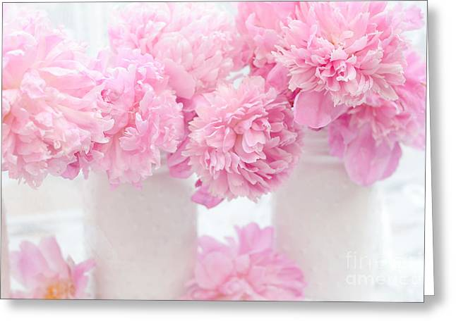 Pastel Pink Greeting Cards - Romantic Shabby Chic Pink Pastel Peonies - Pink Peonies In White Mason Jars Greeting Card by Kathy Fornal