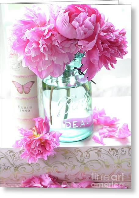 Romantic Shabby Chic Pink Peonies Aqua Mason Jars Floral Decor - Pink Peonies In Ball Jar Greeting Card by Kathy Fornal