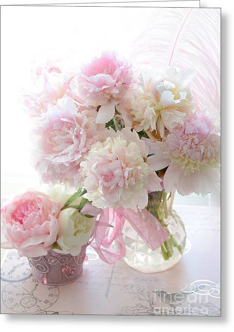 Pink Flower Prints Greeting Cards - Romantic Shabby Chic Pink White Peonies - Shabby Chic Peonies Pastel Decor Greeting Card by Kathy Fornal