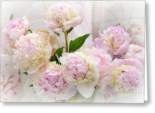 Pink Flower Prints Greeting Cards - Romantic Shabby Chic Pink Yellow Peonies - Dreamy Pink Peonies  Greeting Card by Kathy Fornal