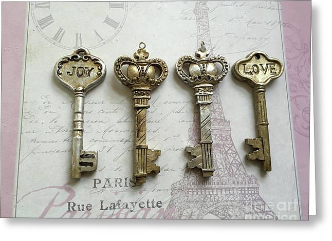Romantic Skeleton Keys - Love Joy Keys Print  - Silver And Gold Love Joy French Key Decor Greeting Card by Kathy Fornal