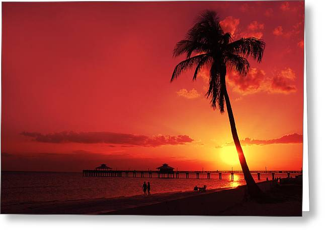 Panoramic Ocean Greeting Cards - Romantic Sunset Greeting Card by Melanie Viola