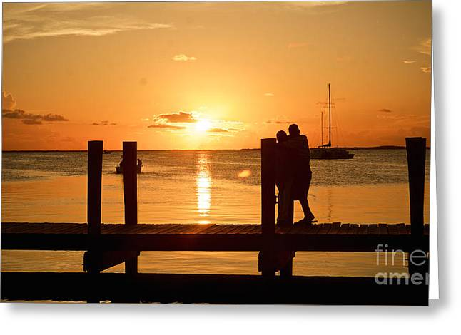 Romantic Sunset Greeting Card by Judy Kay
