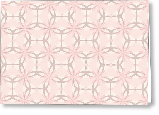 Cushion Greeting Cards - Romantic Tracery in Pink Greeting Card by Lena Kouneva