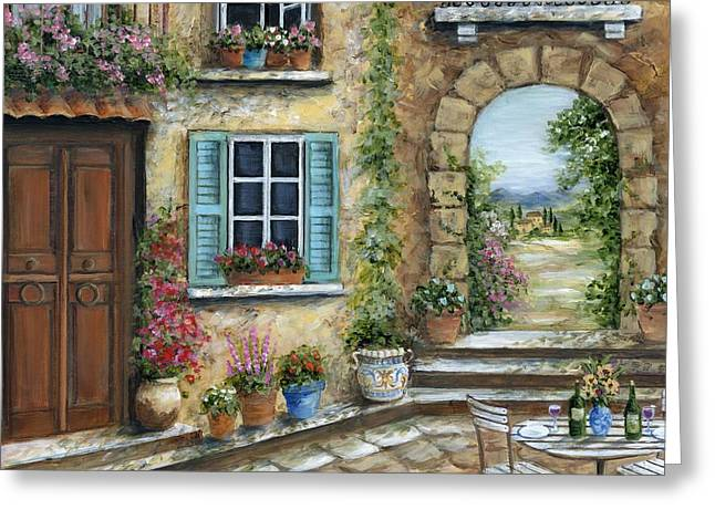 Romantic Tuscan Courtyard Il Greeting Card by Marilyn Dunlap