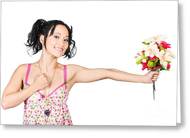 Romantic Woman Giving Flower Bouquet. Thank You Greeting Card by Jorgo Photography - Wall Art Gallery