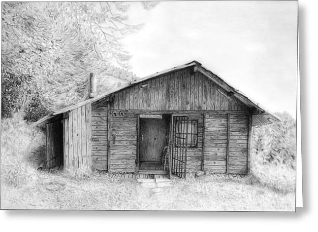 Painted Details Drawings Greeting Cards - Romantic wooden cabin in mountain landscape beautiful detailed monochromatic pencil drawing Greeting Card by Jozef Klopacka