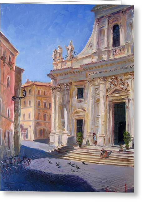 Church Street Greeting Cards - Rome Basilica S Giovanni Battista dei Fiorentini Greeting Card by Ylli Haruni
