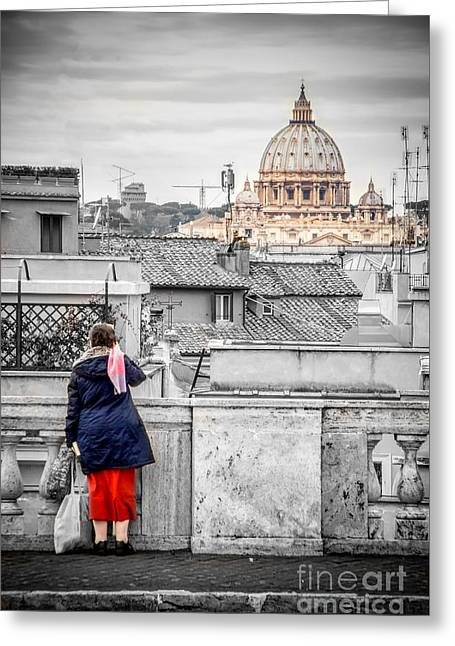 Rome Canvas Dramatic Black And White Selective Color  Stamps Greeting Card by Luca Lorenzelli