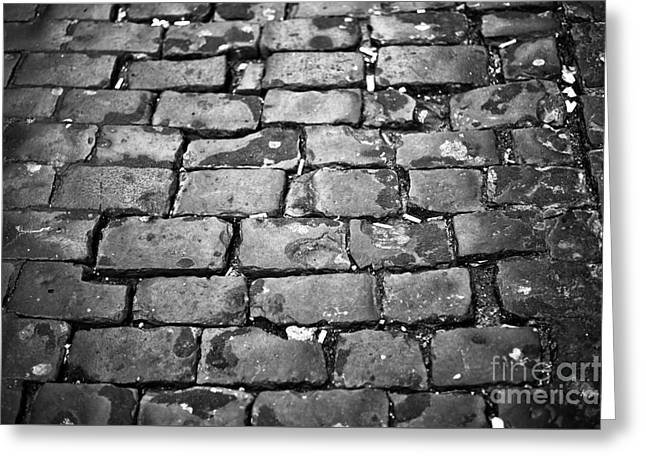 Old Street Greeting Cards - Rome Cobblestone Greeting Card by John Rizzuto