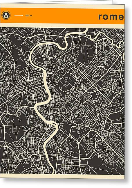 Rome Map Greeting Card by Jazzberry Blue