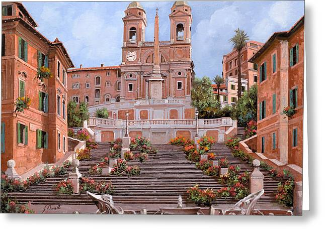 Street Scenes Paintings Greeting Cards - Rome-Piazza di Spagna Greeting Card by Guido Borelli