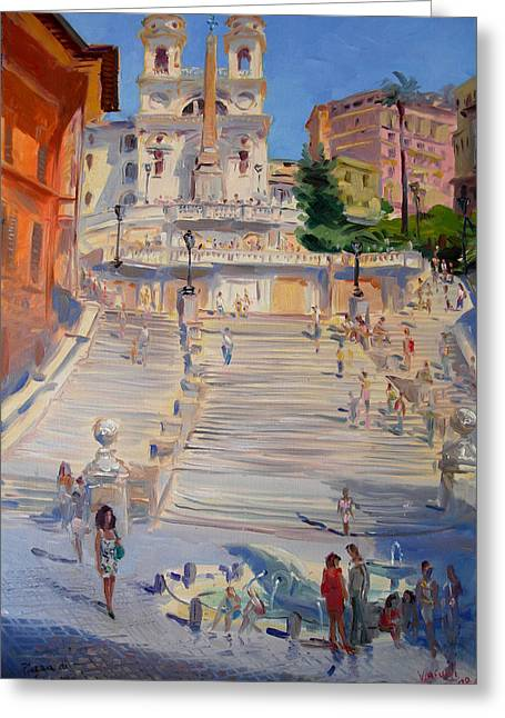 Rome Piazza Di Spagna Greeting Card by Ylli Haruni
