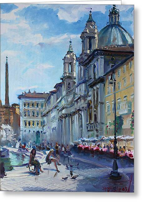 Rome Piazza Navona Greeting Card by Ylli Haruni