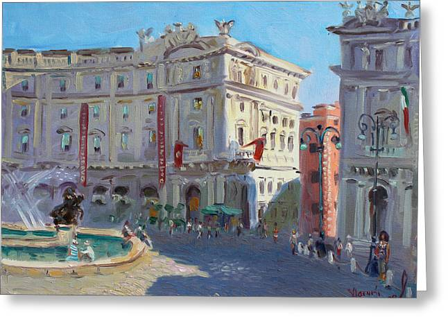 Rome Piazza Republica Greeting Card by Ylli Haruni