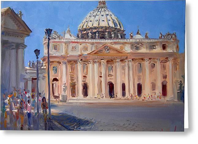 Piazza Greeting Cards - Rome Piazza San Pietro Greeting Card by Ylli Haruni