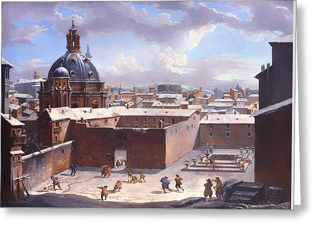 Snowball Fight Greeting Cards - Rome Under The Snow Greeting Card by Giovanni Paolo Panini