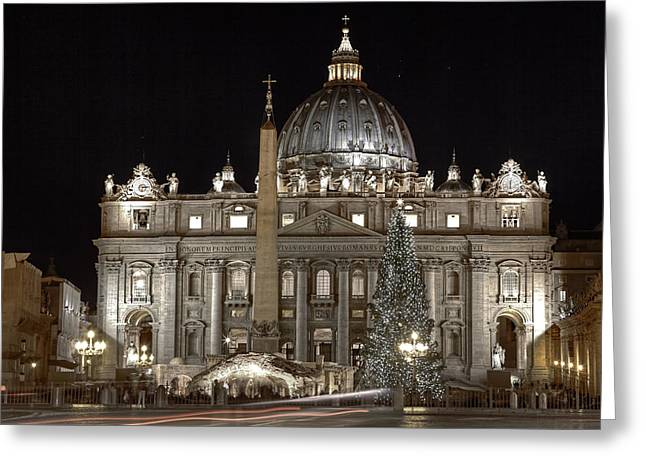 Lighting Greeting Cards - Rome Vatican Greeting Card by Joana Kruse