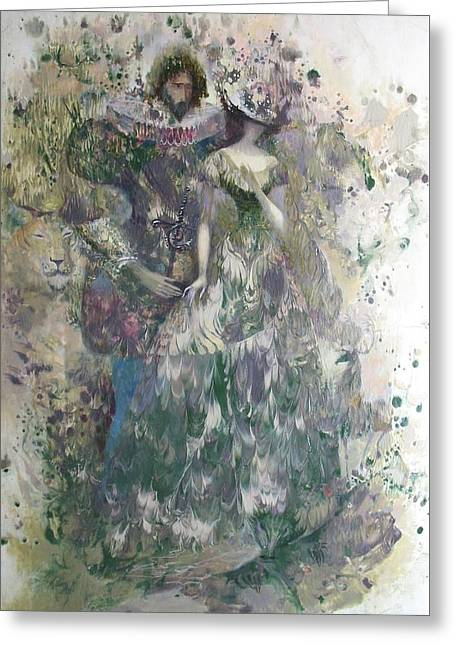 White Paintings Greeting Cards - Romeo and Juliet. Monotype Greeting Card by Valentina Kondrashova