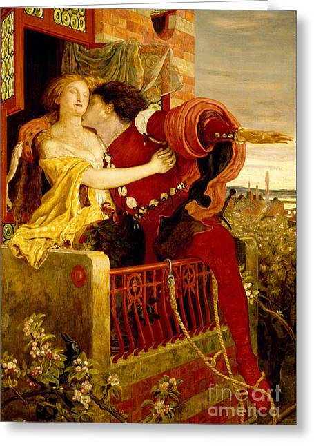 Romeo And Juliet Parting On The Balcony Greeting Card by Madox Brown
