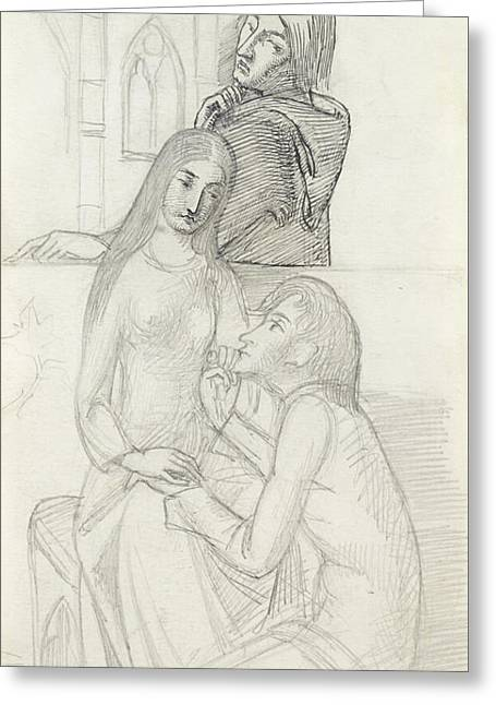 Romeo And Juliet, With Friar Lawrence Greeting Card by Simeon Solomon