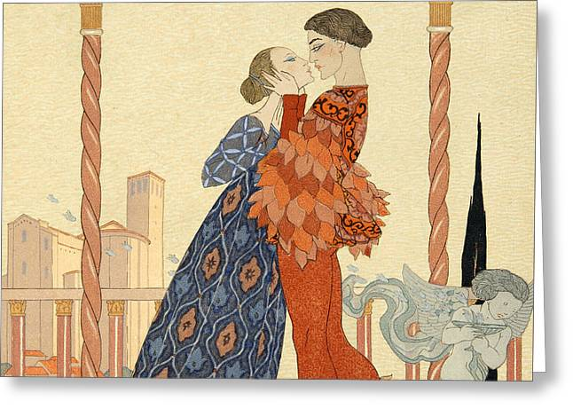 Romeo And Juliette Greeting Card by Georges Barbier