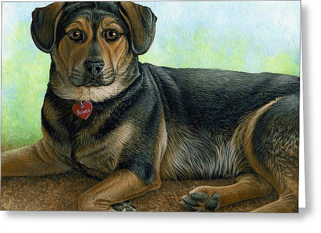 Lounge Paintings Greeting Cards - Romeo Greeting Card by Cara Bevan