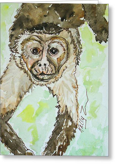Tropical Rainforests Mixed Media Greeting Cards - Romeo Mono Greeting Card by Kelly     ZumBerge