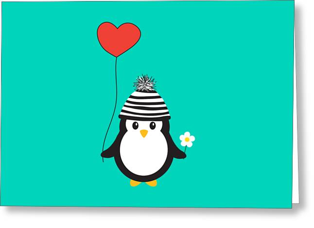 Romeo The Penguin Greeting Card by Natalie Kinnear