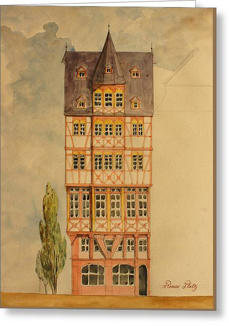 City Buildings Paintings Greeting Cards - Romer platz frankfurt Greeting Card by Juan  Bosco