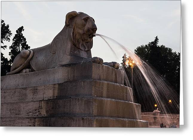 Stepping Stones Greeting Cards - Romes Fabulous Fountains - Piazza del Popolo Egyptian Lion Greeting Card by Georgia Mizuleva