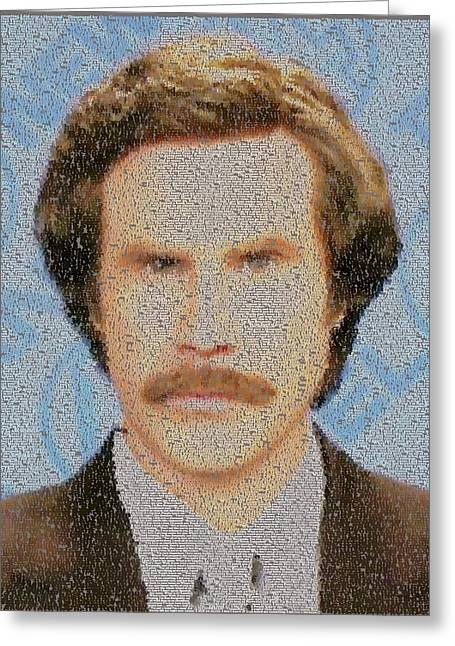 Anchorman Greeting Cards - Ron Burgundy Quotes Mosaic Greeting Card by Paul Van Scott