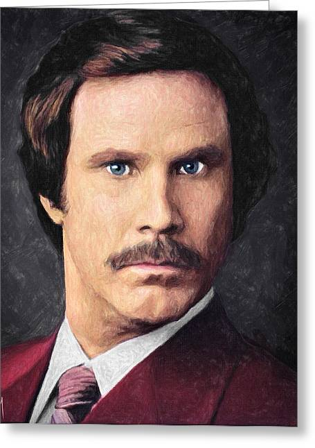 Anchorman Greeting Cards - Ron Burgundy Greeting Card by Taylan Soyturk