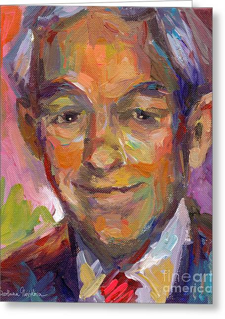 Frame Drawings Greeting Cards - Ron Paul art impressionistic painting  Greeting Card by Svetlana Novikova