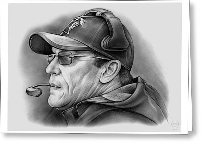 Ron Rivera Greeting Card by Greg Joens