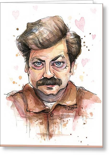 Ron Swanson Funny Love Portrait Greeting Card by Olga Shvartsur