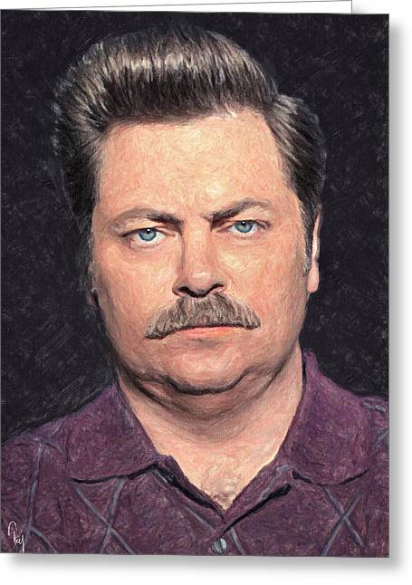 Situation Greeting Cards - Ron Swanson Greeting Card by Taylan Soyturk