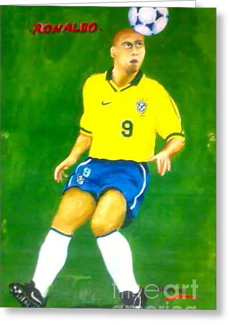Player Pyrography Greeting Cards - Ronaldo De Lima on Action Greeting Card by Ahm Safiqul Islam