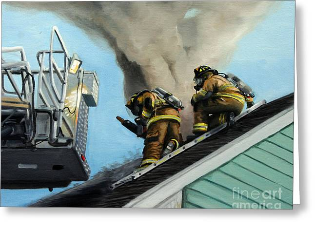 Firefighter Greeting Cards - Roof Is Open Greeting Card by Paul Walsh