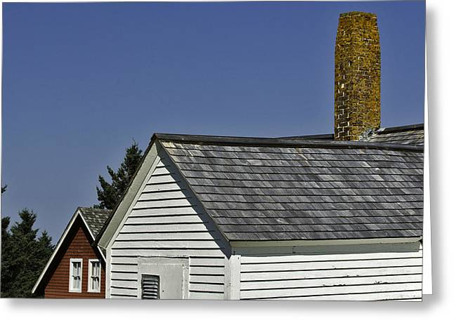 Best Sellers -  - Maine Farms Greeting Cards - Roof lines and chiminey at the Sky Greeting Card by Jack Goldberg