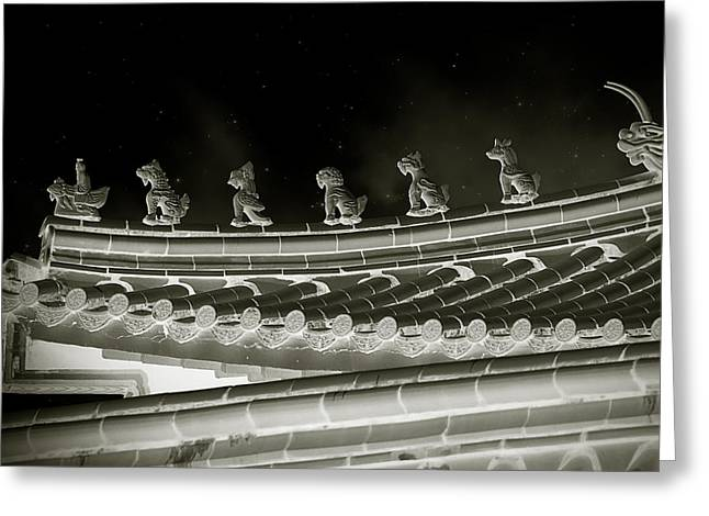 Moonlit Greeting Cards - Roof National Palace Museum Taiwan City - Taipei  Greeting Card by Christine Till