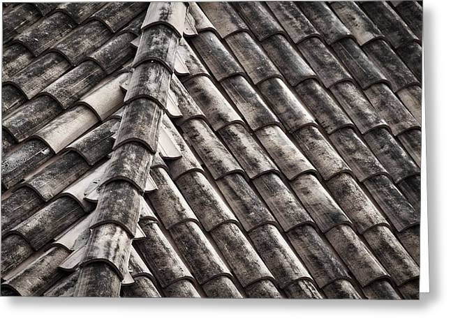 Layers Greeting Cards - Roof Tile Abstract - Black and White Greeting Card by Stuart Litoff