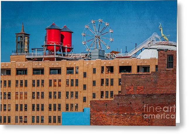 Rectangles Greeting Cards - Roof Top Ferris Wheel Greeting Card by Anne Warfield