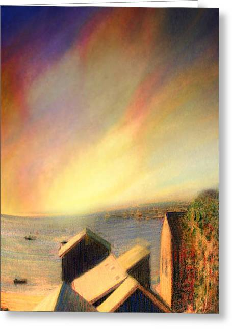 Roof Tops Over Provincetown Harbor Greeting Card by Mike Massengale