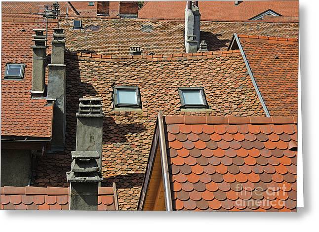 Abstract Shapes Greeting Cards - Roofs And Chimneys Greeting Card by Alexandra Lavizzari
