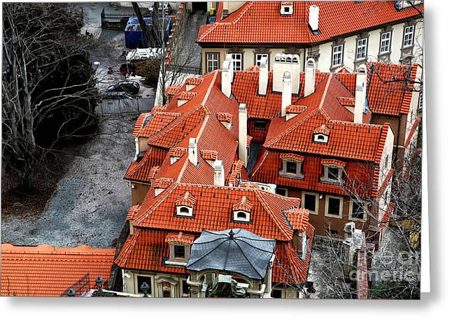 Roofs In Prague Greeting Card by John Rizzuto